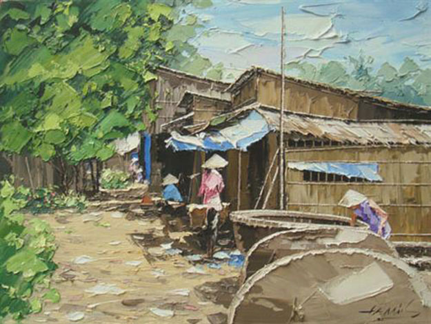 Noon in village-Original Vietnamese Art Gallery
