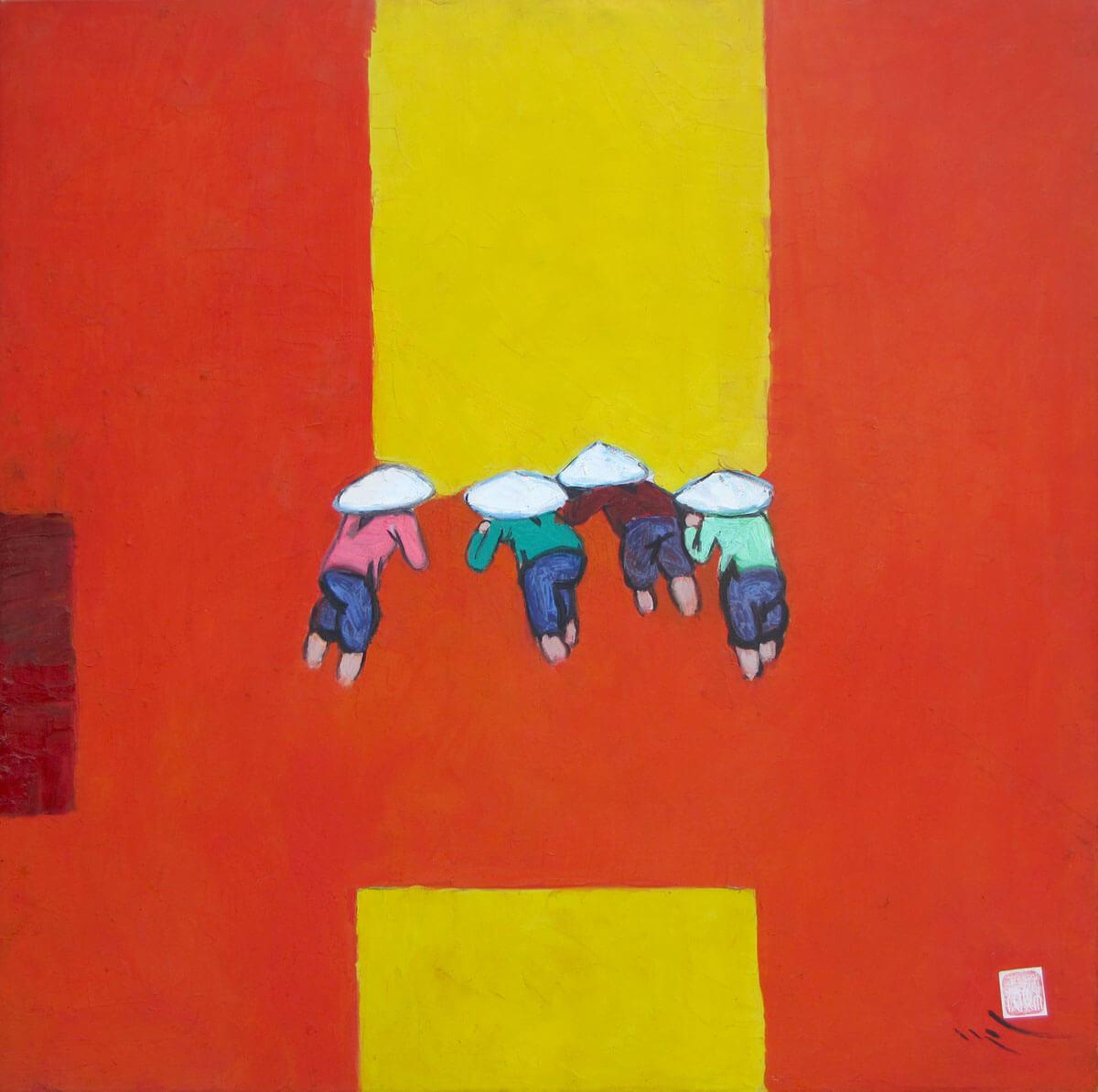 Noon on rice field -Vietnamese Painting