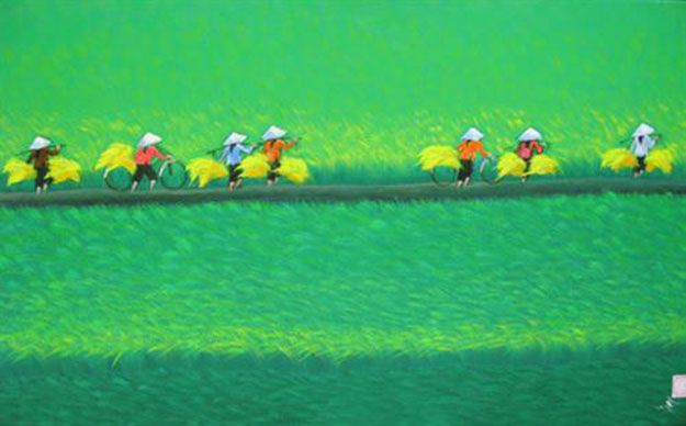 Paddy field 02-Vietnamese Painting