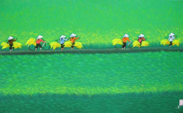 Paddy field 02-Vietnamese Painting