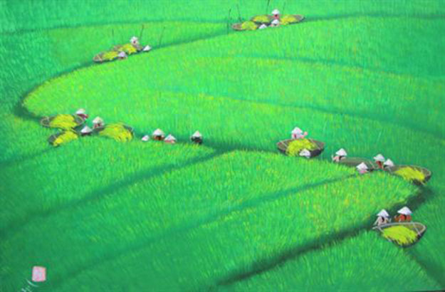 Paddy field 03-Vietnamese Painting