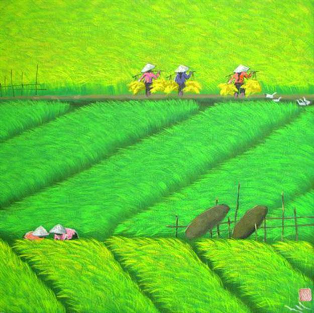 Paddy field 06-Vietnamese Painting