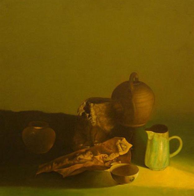 Pots and dry leaf-Original Vietnamese Art Gallery