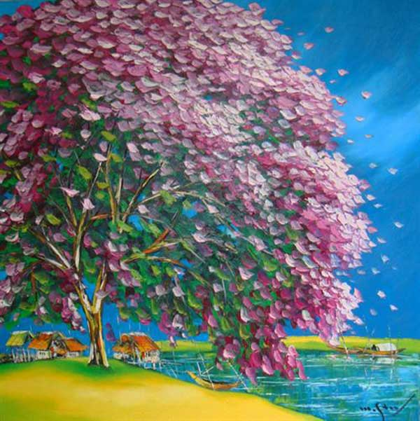 Purple plampoyant tree-Original Asian Art