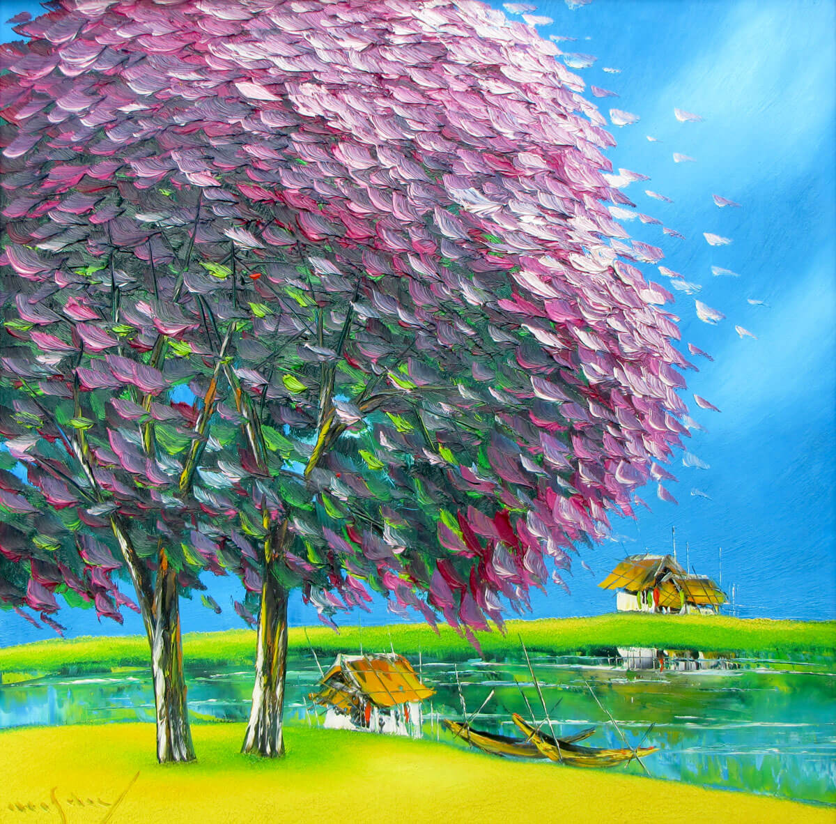 Purple plampoyant trees-Original Asian Art