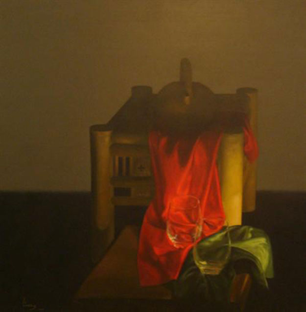 Red cloth and glasses-Original Vietnamese Art Gallery