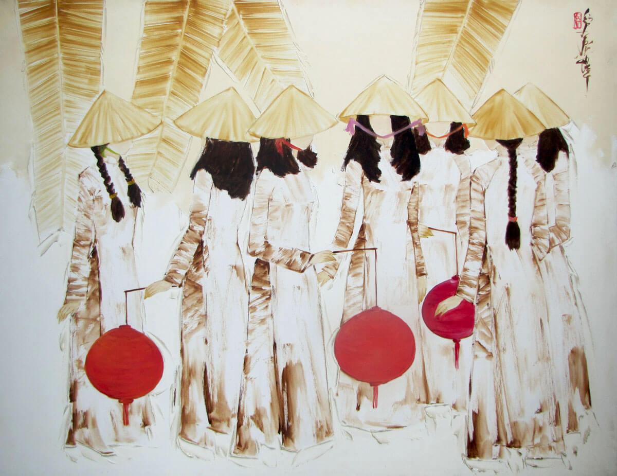Red lanterns -Original Asian Art
