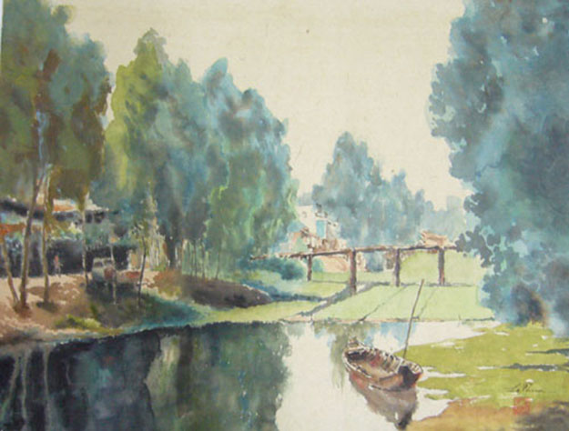 Resting boat-Original Asian Art