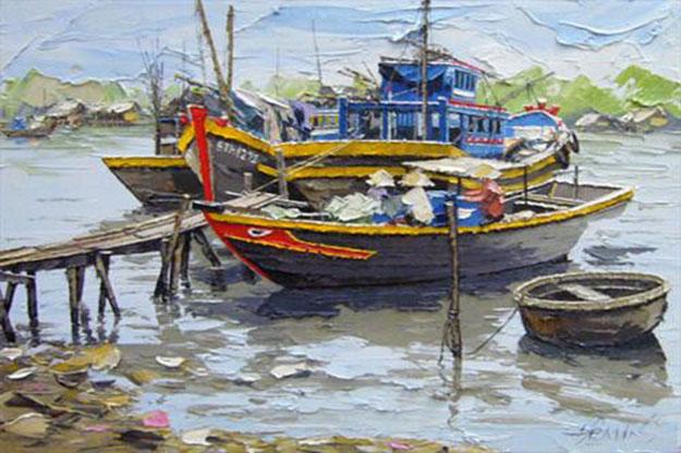 Resting boats 02 -Original Vietnamese Art Gallery