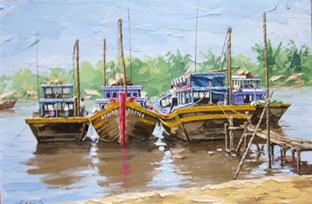 Resting boats -Original Vietnamese Art Gallery