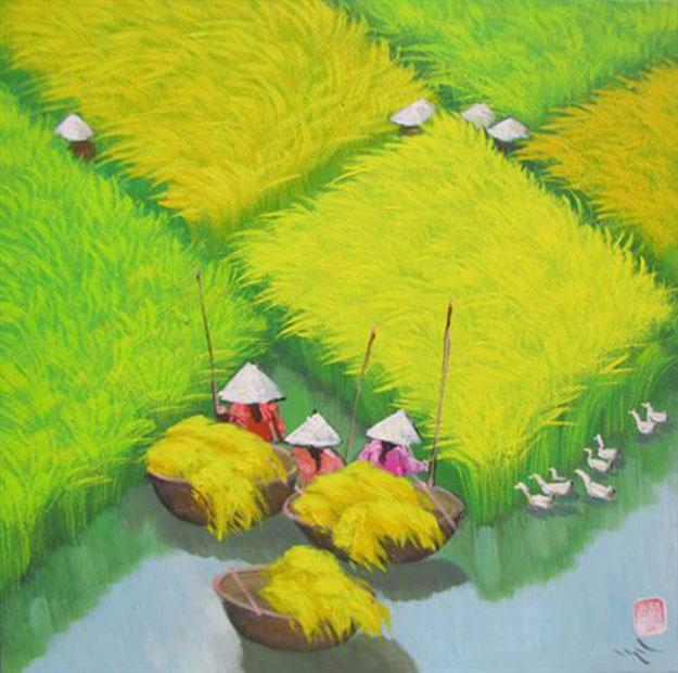 Rice field 01-Vietnamese Painting