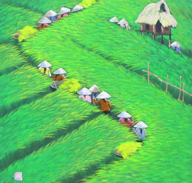 Rice field-Vietnamese Painting