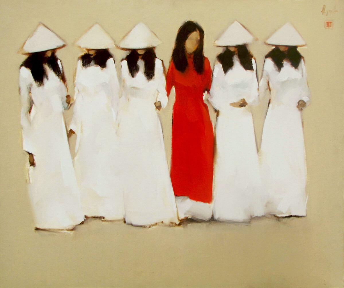 Schoolgirls 03-Original Vietnamese Art