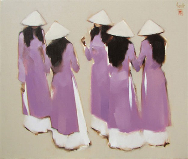 Schoolgirls 05-Original Vietnamese Art