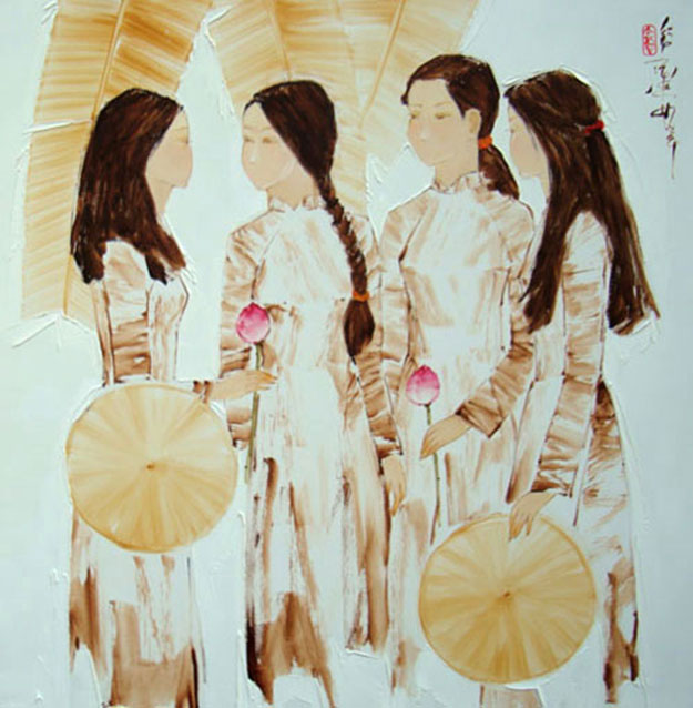 Schoolgirls-Original Asian Art