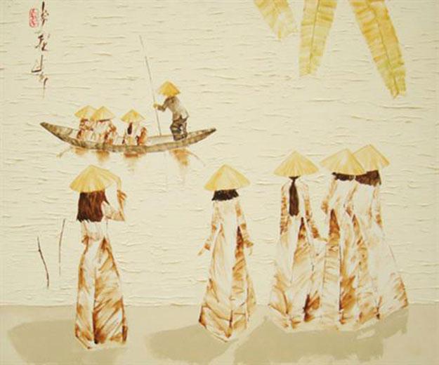 Schoolgirls by river-Original Asian Art