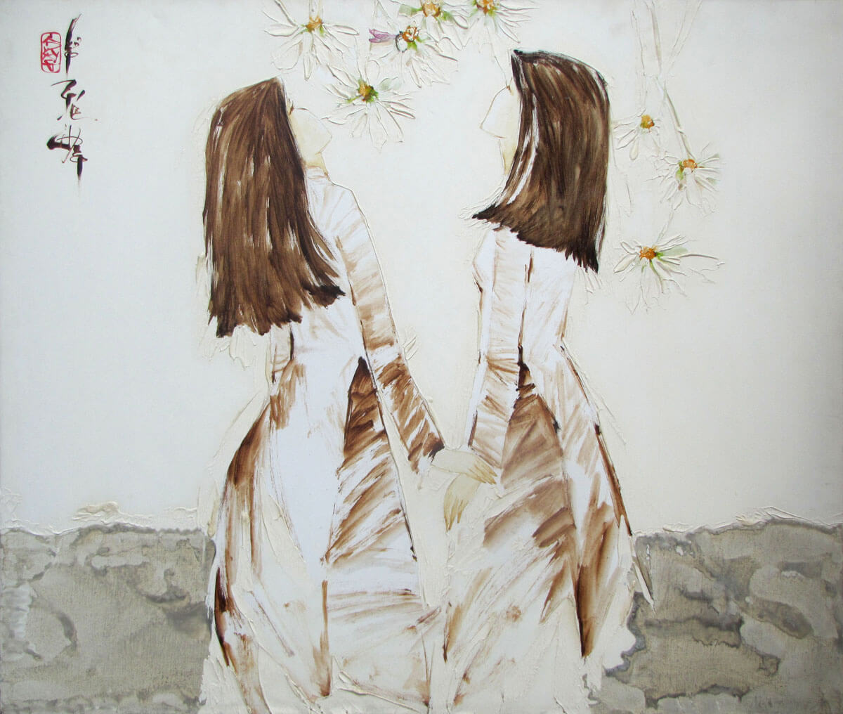 Schoolgirls enjoy the flowers-Original Asian Art
