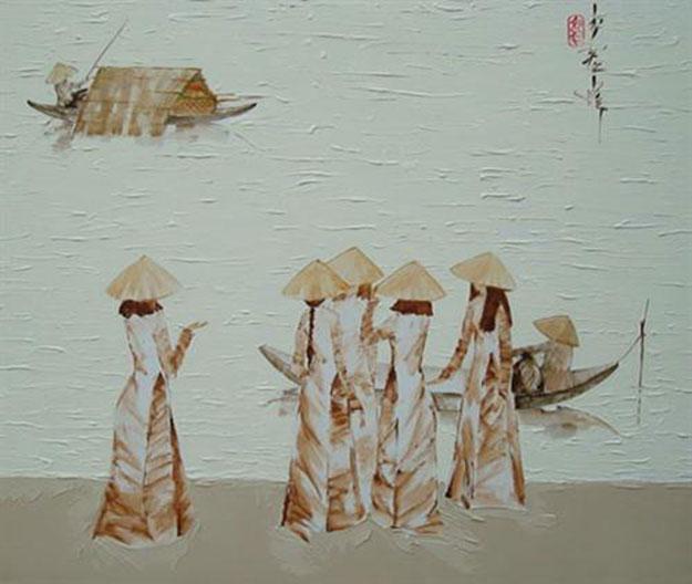 Schoolgirls sharing conversation by the river - LD-Original Vietnamese Art