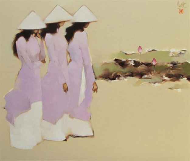 Schoolgirls with lotus 01-Original Vietnamese Art