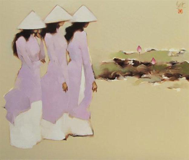 Schoolgirls with lotus 01-Original Vietnamese Art