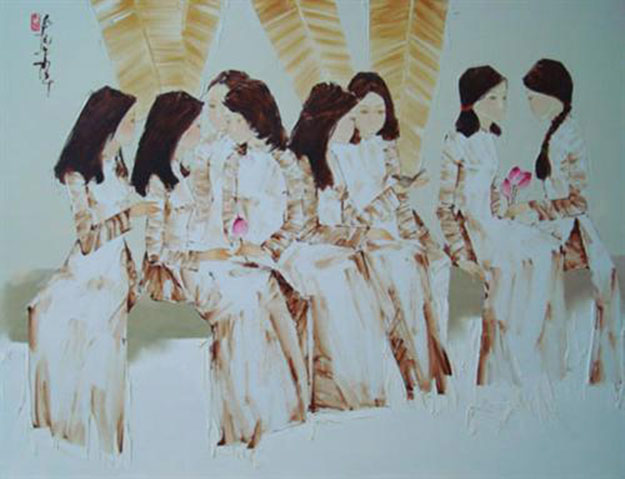 Schoolgirls with lotus flowers -Original Asian Art