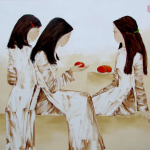 Schoolgirls with red apples-80x95