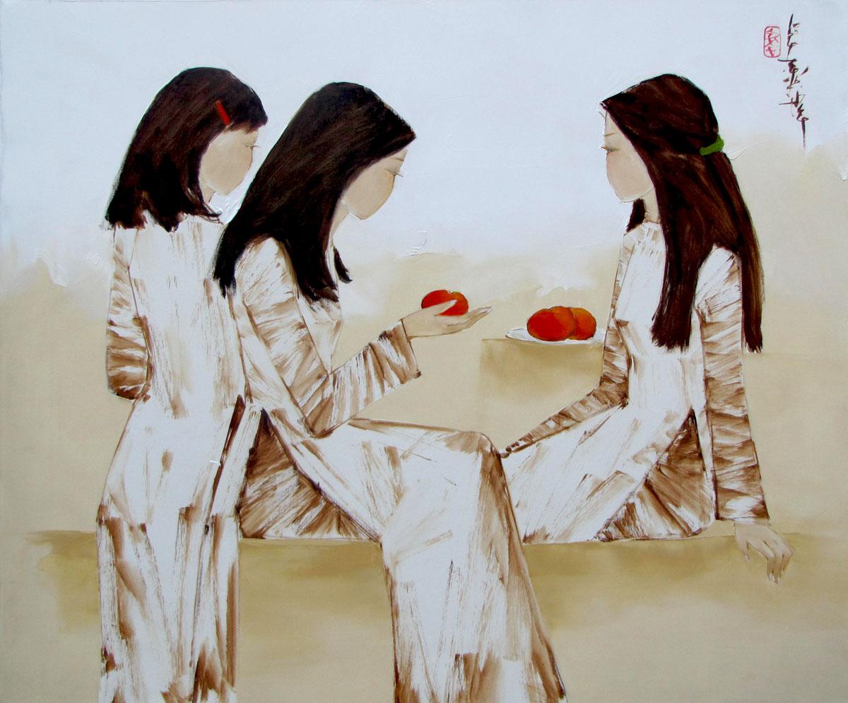 Schoolgirls with red apples-80x95
