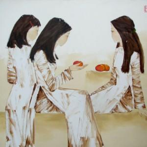 Schoolgirls with red apples-Original Asian Art