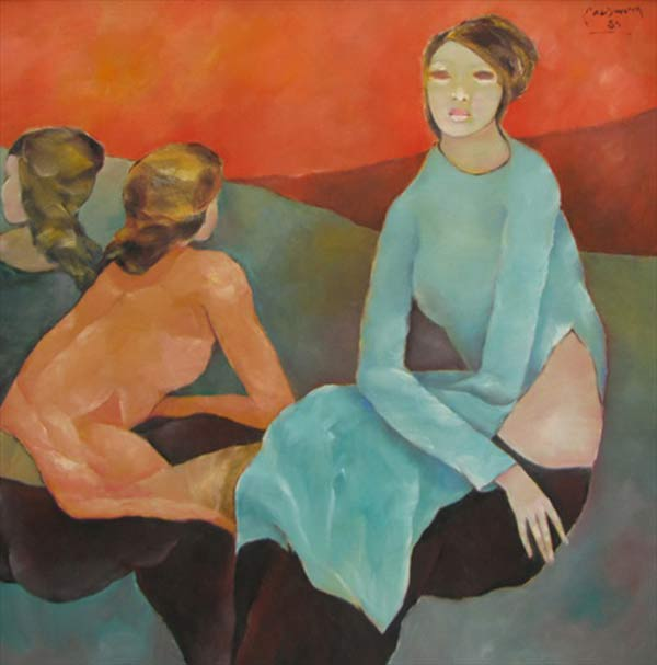 Sisters confide to each other 2-Original Vietnamese Art
