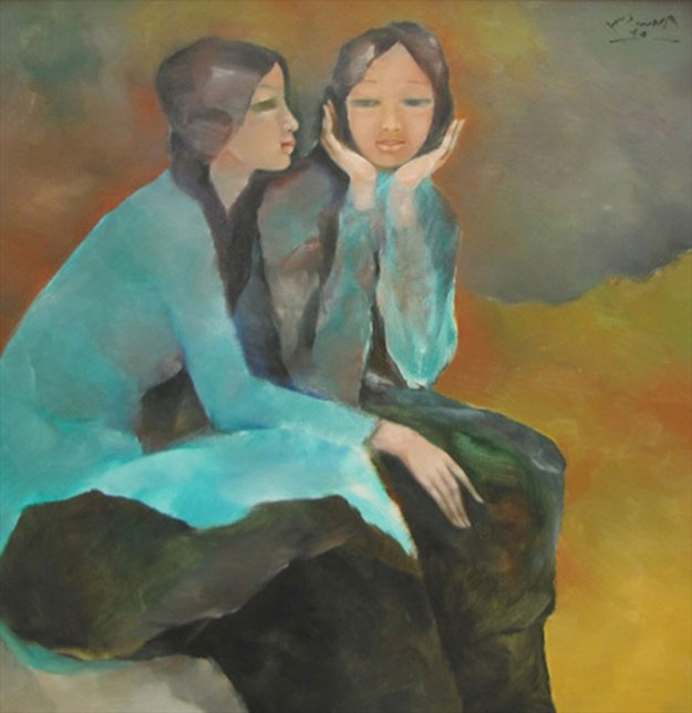 Sisters confide to each other-Original Vietnamese Art