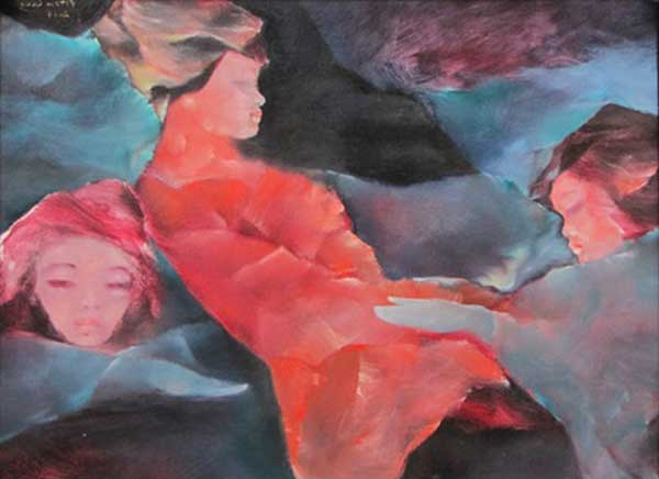 Sisters dreaming in the garden 01-Original Vietnamese Art