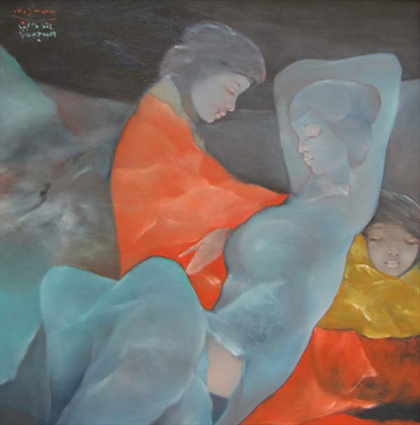 Sisters dreaming in the garden-Original Vietnamese Art