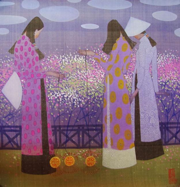 Spring garden 2-Vietnamese Painting