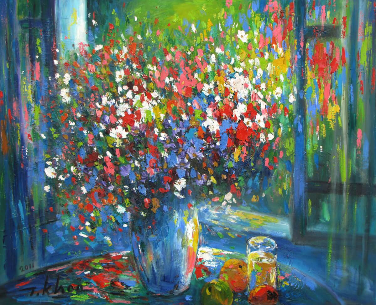 Still-life of flowers and fruit 02-Original Asian Art