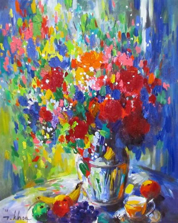 Still-life of flowers and fruit 03-Original Asian Art