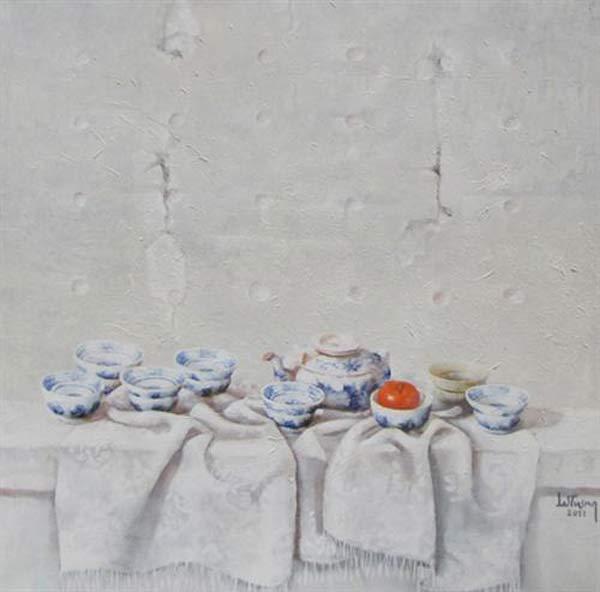Still-life with antique bowls & apple-Original Vietnamese Art