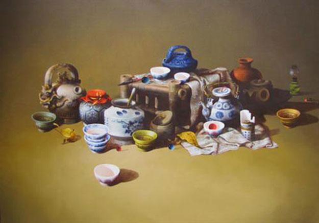 Still-life with antique pots 02-Original Vietnamese Art