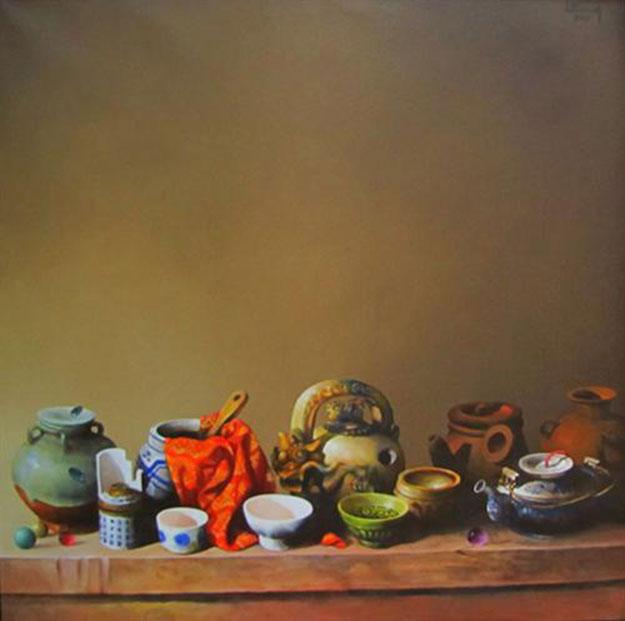 Still-life with antique pots 03-Original Vietnamese Art