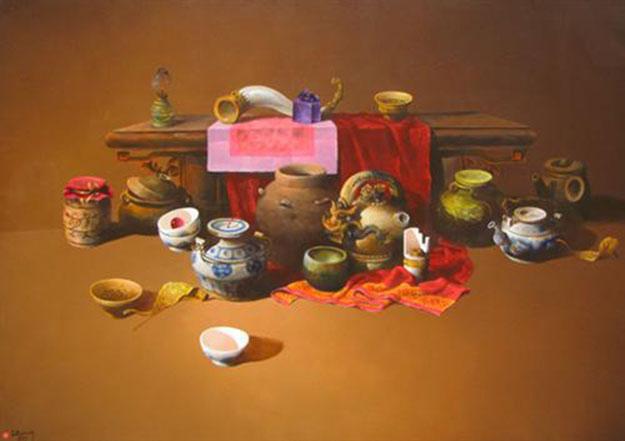 Still-life with antique pots 04-Original Vietnamese Art