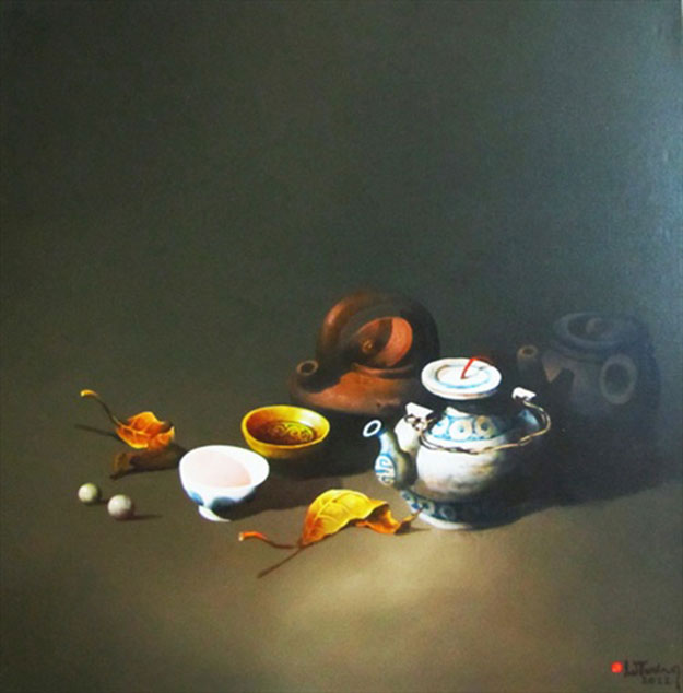Still-life with antique pots 05-Original Vietnamese Art