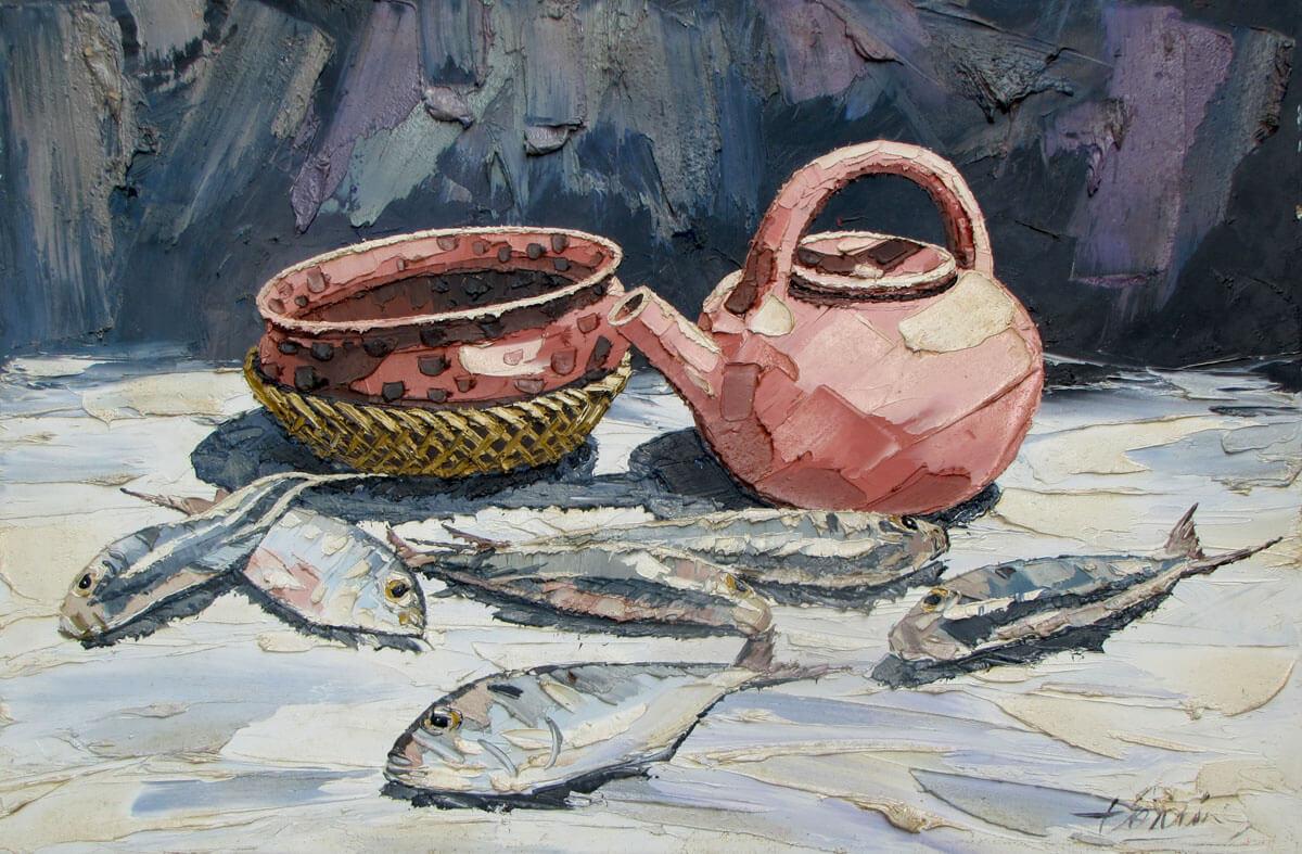 Still-life with fish-Original Vietnamese Art Gallery