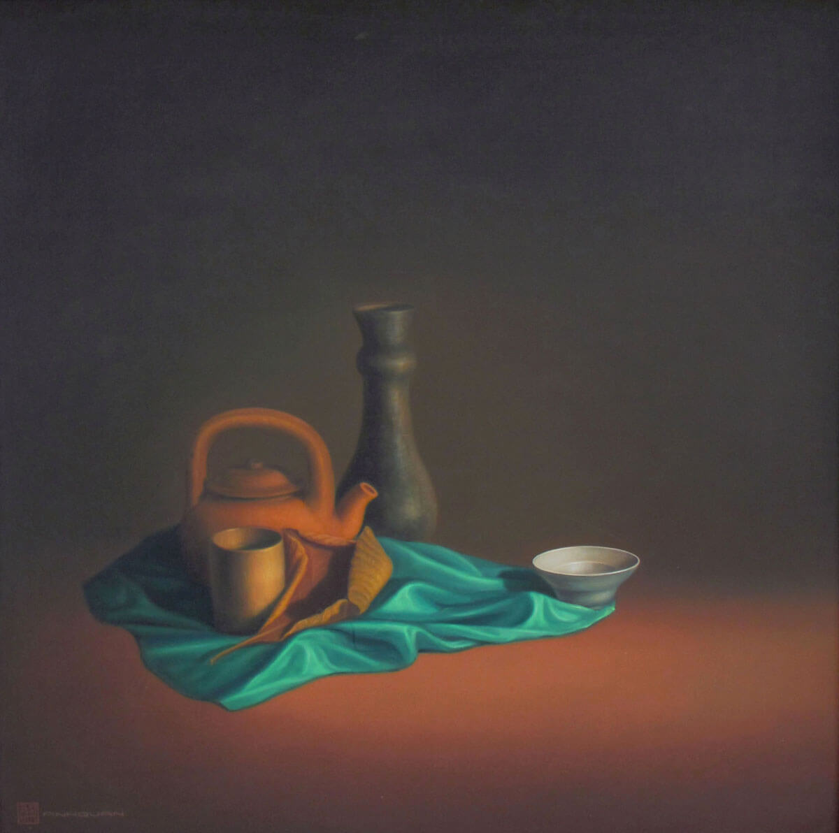 Still-life with green cloth -Vietnamese Painting