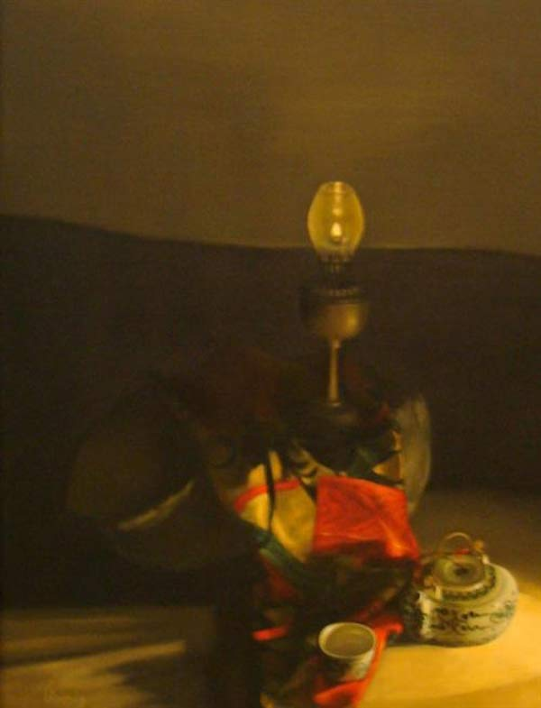 Still-life with lamp and teaset -03-Original Vietnamese Art Gallery