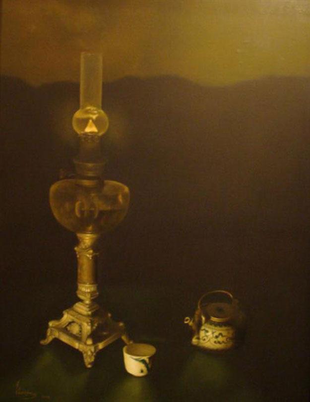 Still-life with lamp and teaset-Original Vietnamese Art Gallery
