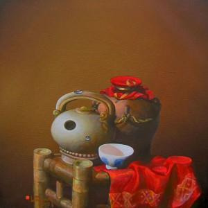 Still-life with red cloth 2-Original Vietnamese Art