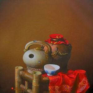 Still-life with red cloth 2-Original Vietnamese Art