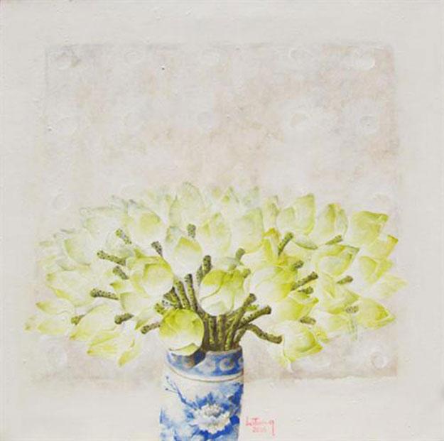 Still-life with vase of lotus flowers-Original Vietnamese Art