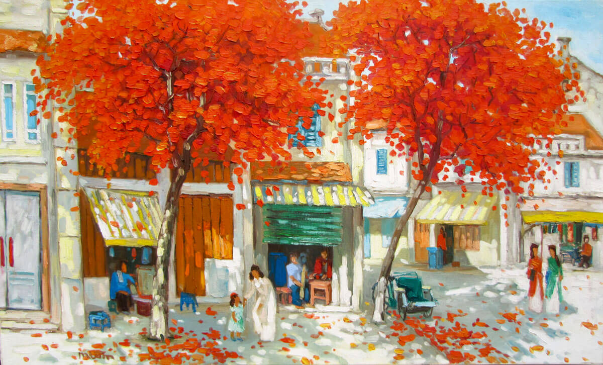 Streetscence in Summer-02-Original Vietnamese Art