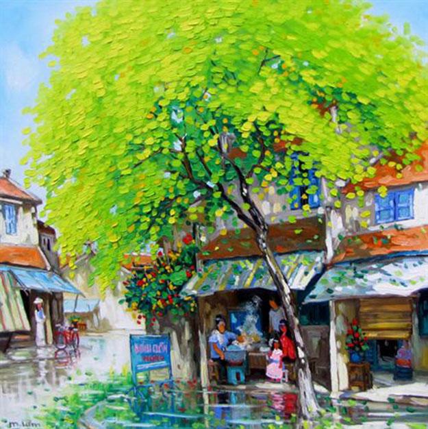 Streetscene after the rain -Original Vietnamese Art