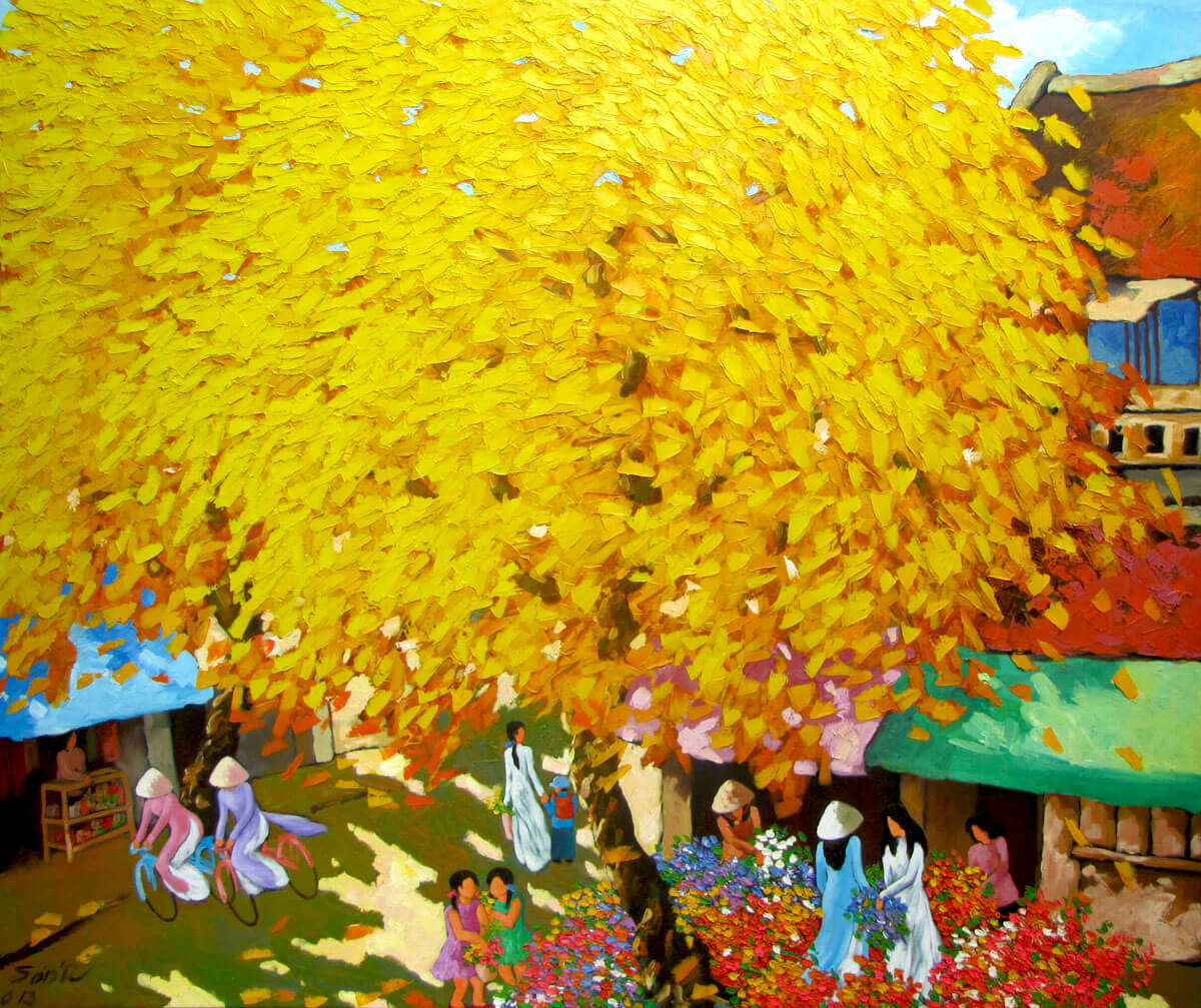 Streetscene in Autumn-DNS2 -Original Vietnamese Art